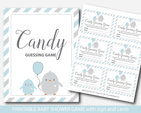 Candy guessing game, M&Ms guessing game, Candies guessing game, Chicken blue baby shower guessing game, BC1-16