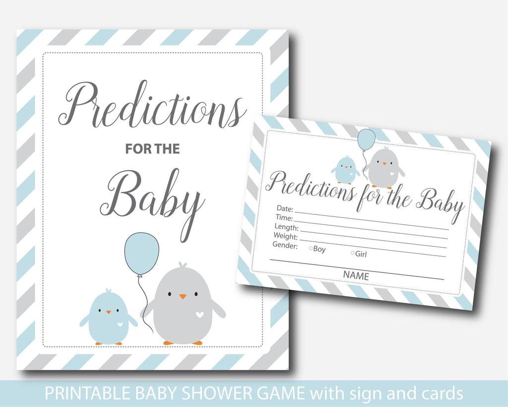 Baby predictions, Chicken predictions for the baby with cards and sign, Bird prediction cards, Blue and grey prediction baby cards, BC1-17