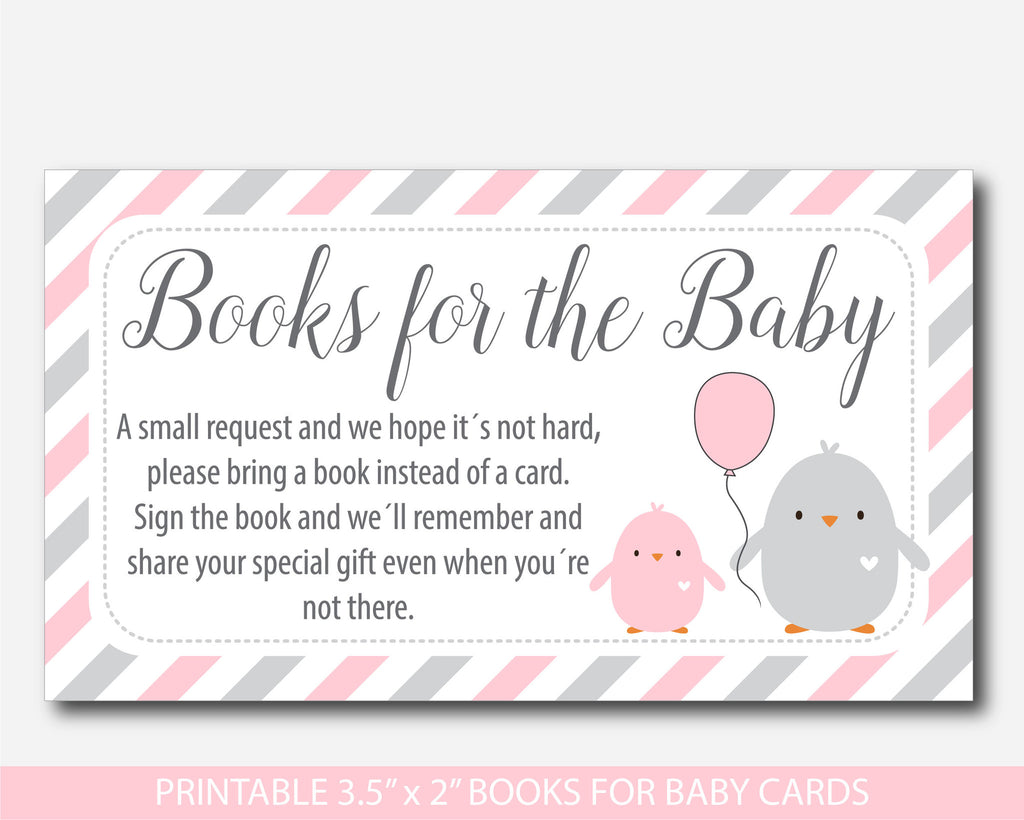 Pink baby shower chicken Bring a book instead of a card inserts, Pink books for the baby cards with cute birds, Book request, BC2-14