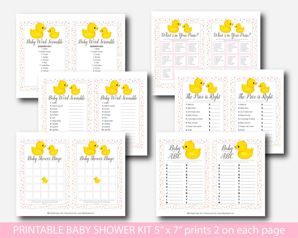 Rubber ducky baby shower games, Printable yellow duck baby shower games pack, BD1-01