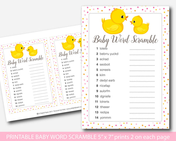 Rubber duck word scramble, Ducky word scramble, Duck baby shower word scramble game, Printable baby shower ducky word game, BD1-03
