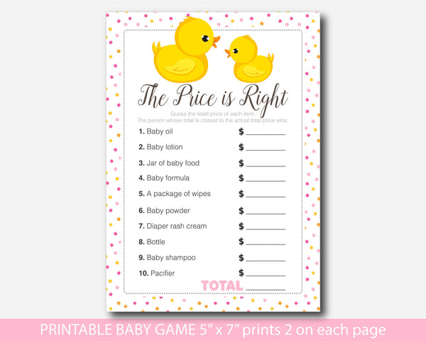 Rubber duck the price is right game, Ducky baby price game, Duck baby shower price game, Printable baby shower ducky the price is right game, BD1-05