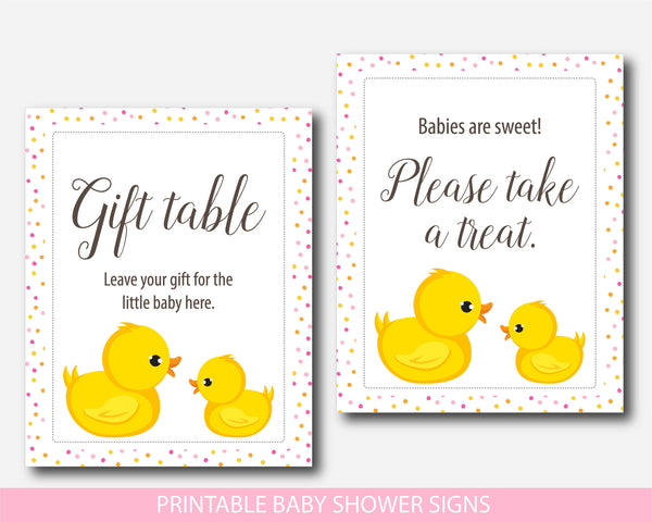 Rubber ducky baby shower table signs, Yellow duck gift table signs, Duck baby shower signs, BD1-07