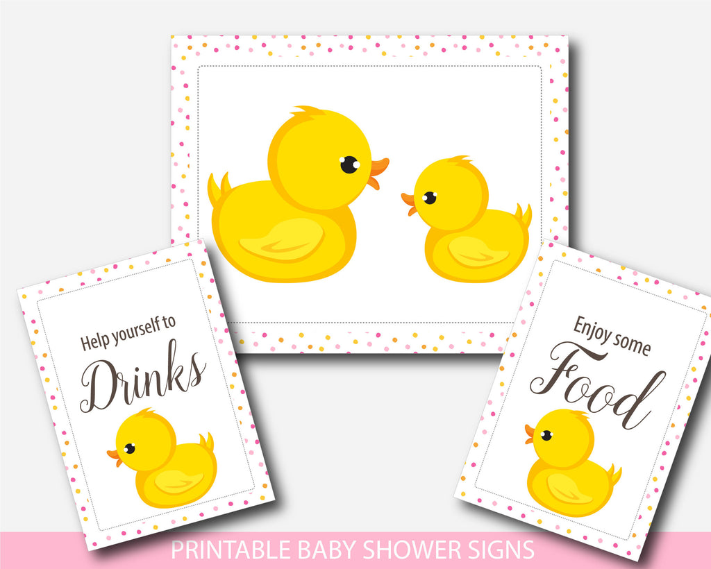 Rubber ducky baby shower table signs, Yellow duck gift table signs ...