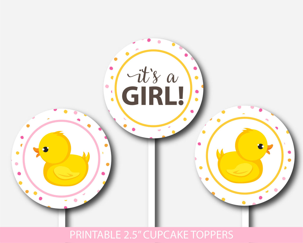 Duck cupcake toppers, Rubber duck cupcake toppers, Printable cupcake decorations for baby shower, Ducky cupcake topper, BD1-11