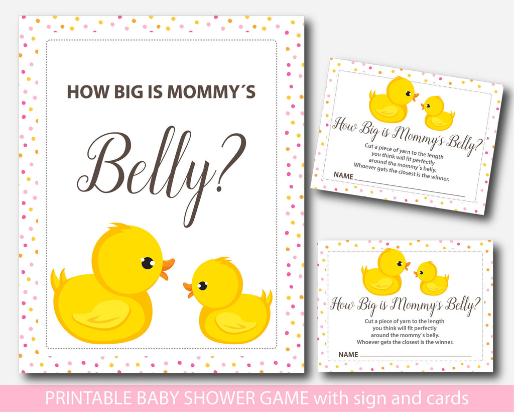 Ducky How big is mommy´s belly game, Rubber duck baby shower belly game with cards and table sign, Belly guessing game, Moms belly game, BD1-13