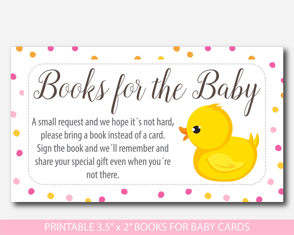 Ducky Bring A Book Instead Of A Card Inserts, Duck Baby Shower Books For The