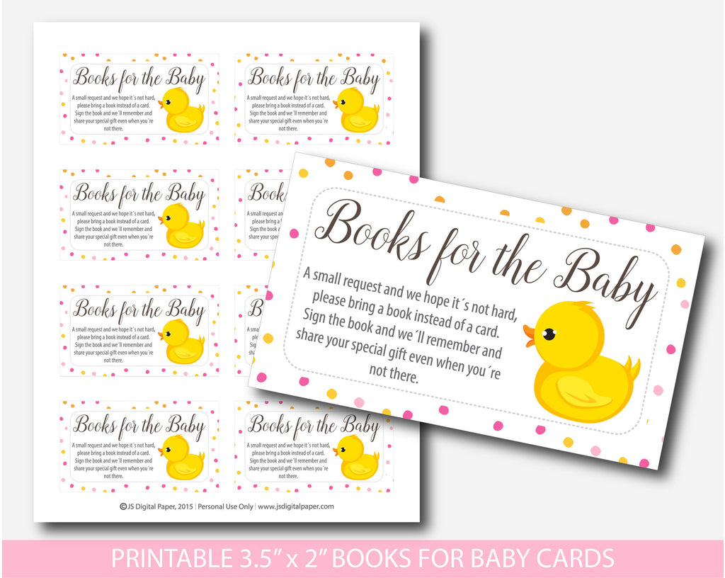 ... Ducky Bring A Book Instead Of A Card Inserts, Duck Baby Shower Books  For The