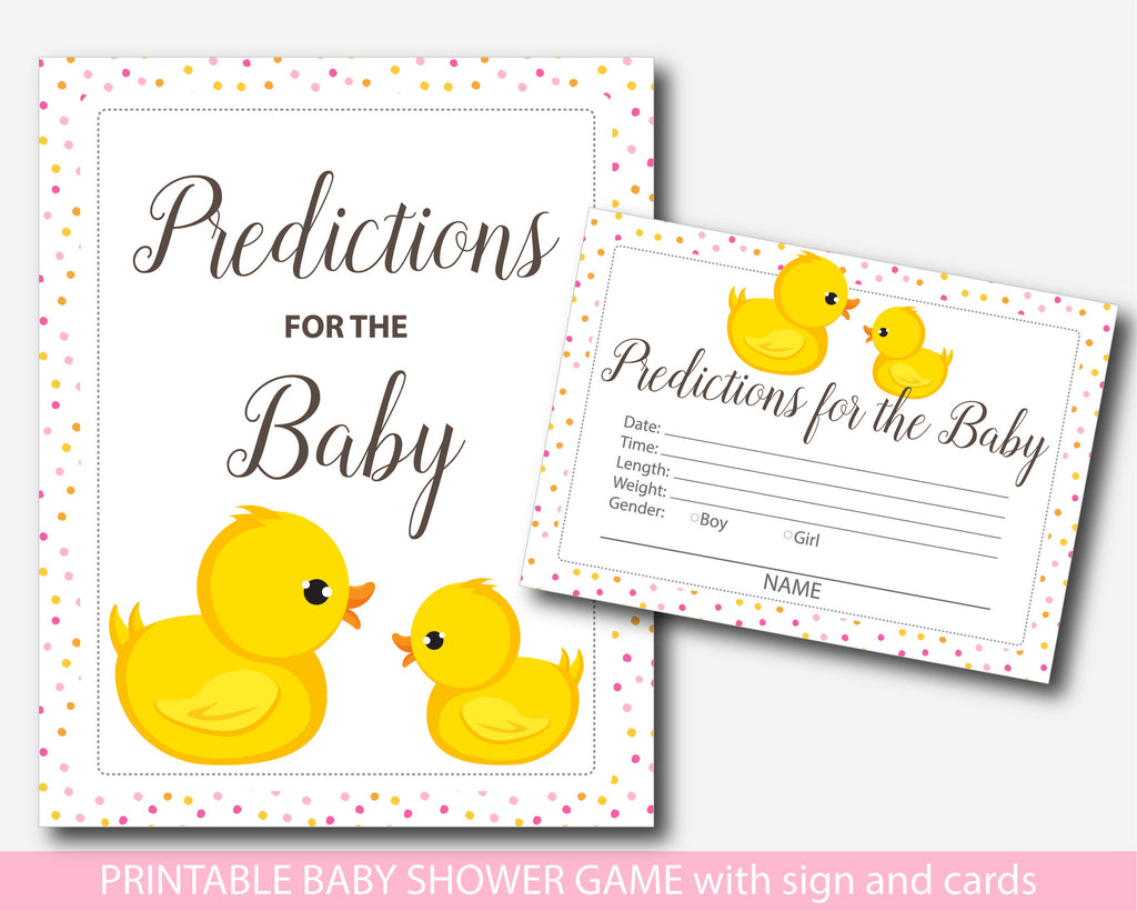Rubber duck predictions, Duck predictions for the baby with cards and sign, Ducky prediction cards, Ducks baby shower prediction baby cards, BD1-17