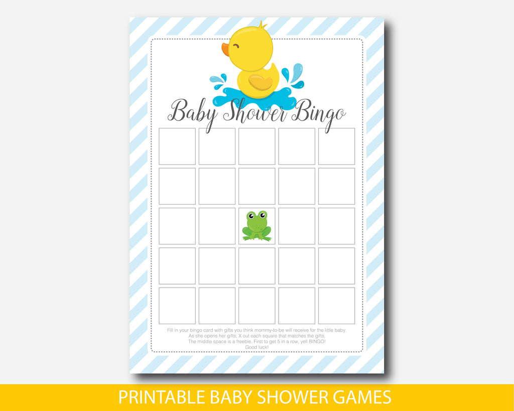 Rubber duck baby bingo game, Yellow ducky baby shower bingo cards, BD2-02