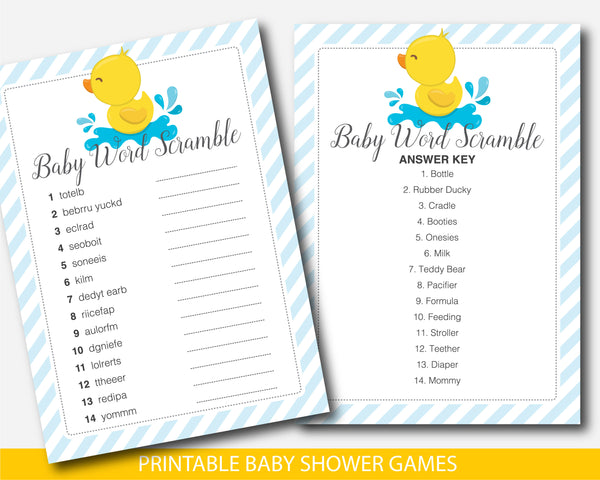 Duck baby shower word scramble game, Ducky word scramble, BD2-03