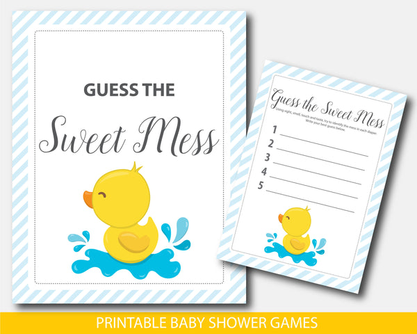 Rubber ducky guess the sweet mess dirty diaper game, BD2-11