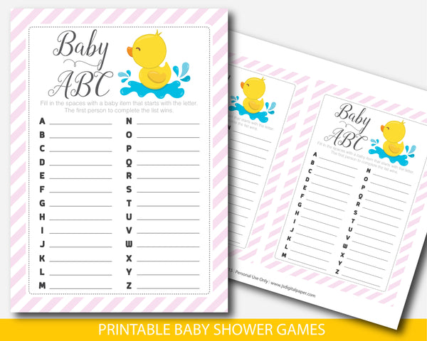 Baby shower ABCs game with yellow duck and pink stripes, BD3-04