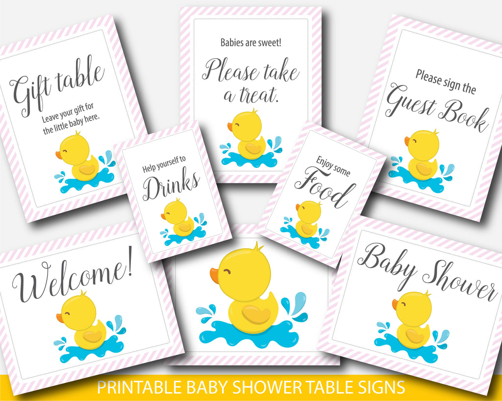 Yellow rubber duck baby shower table signs and decor with pink stripes, BD3-07