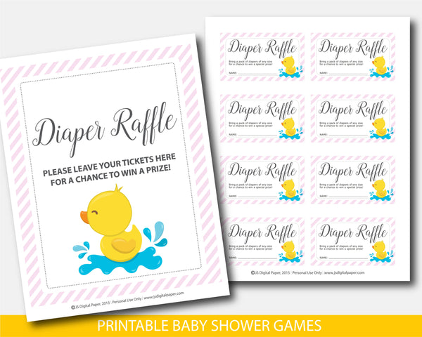 Yellow rubber duck diaper raffle cards and sign with pink stripes, BD3-08