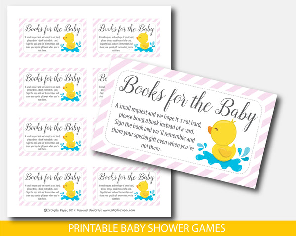 Yellow ducky bring a book for the baby card inserts with pink strips, BD3-09