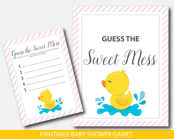 Yellow ducky guess the sweet mess dirty diaper game with pink stripes, BD3-11