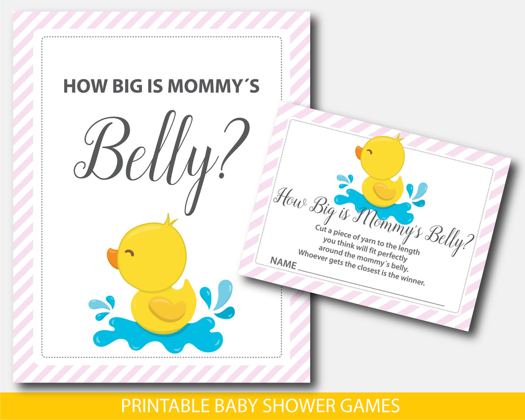 Yellow ducky baby shower how big is mommy´s belly game with pink stripes, BD3-12