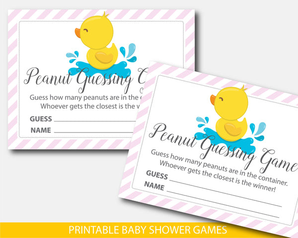 Yellow ducky peanut guessing game, Duck baby shower guessing game, BD3-14