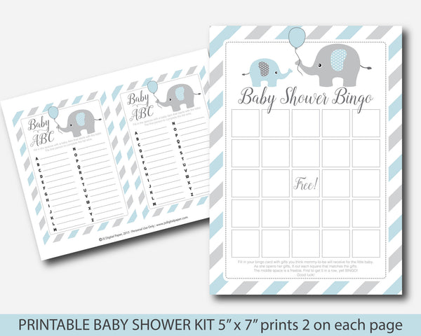 Blue elephant baby shower games, Blue baby shower games kit, BE1-01