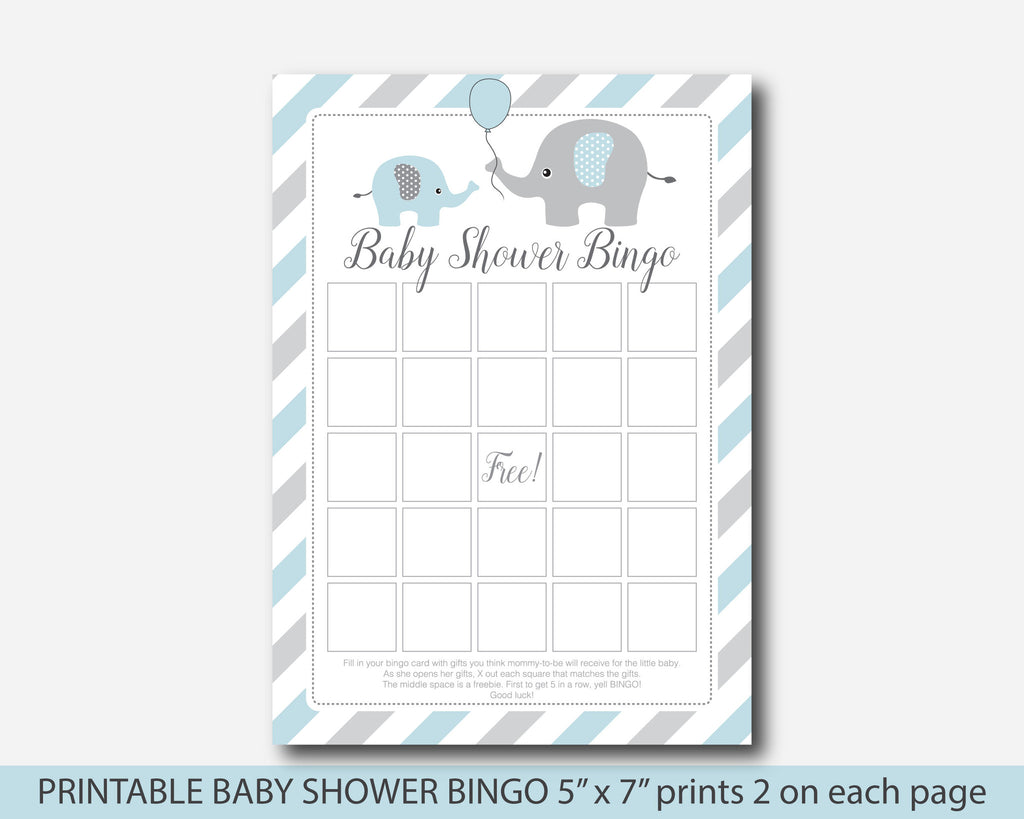 Blue elephant baby shower bingo cards, Blue baby bingo cards game, BE1-02