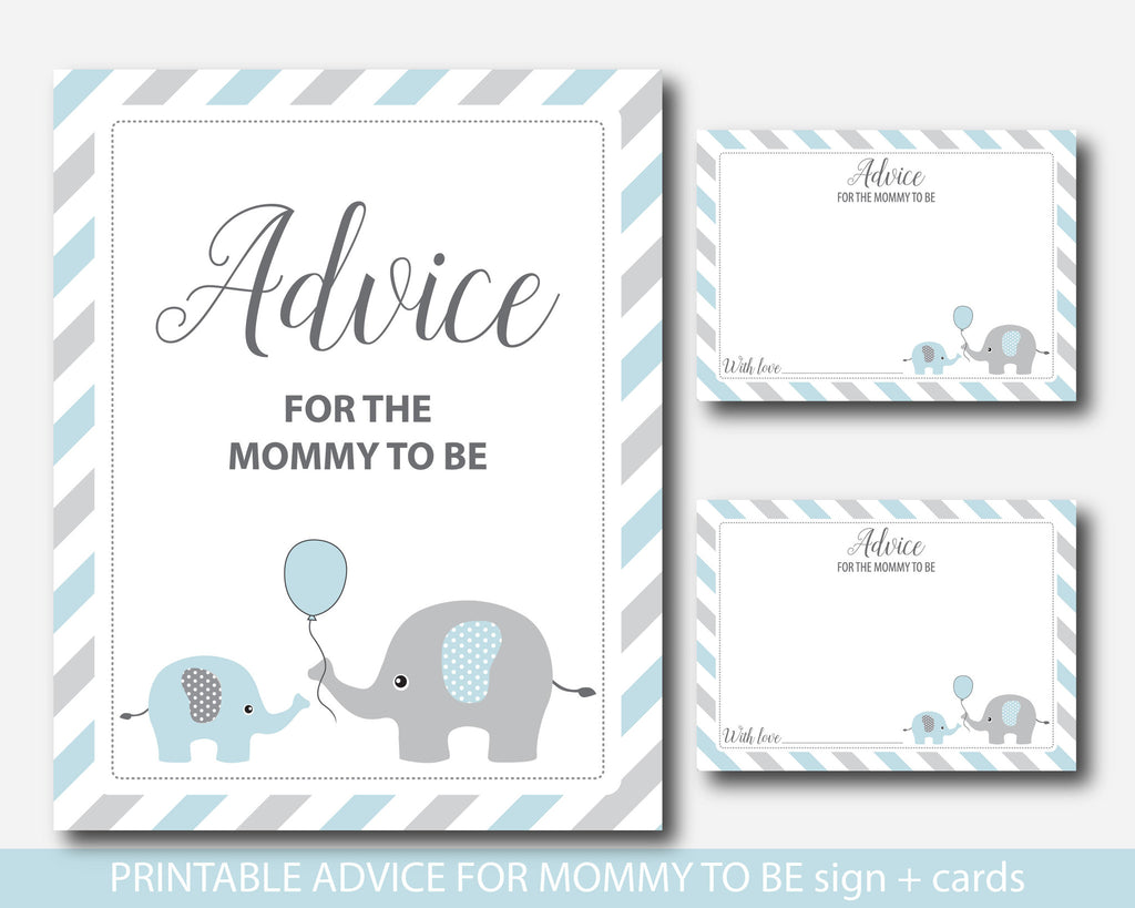 Blue Elephant Advice For Mommy To Be Cards And Sign, Elephant Baby Shower  Advice Cards