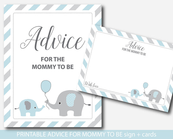 Blue elephant advice for mommy to be cards and sign, Elephant baby shower advice cards, BE1-09