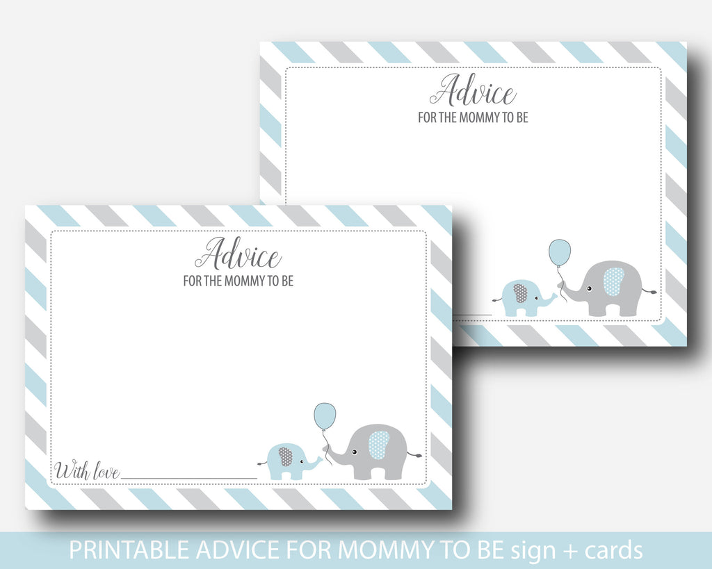 blue elephant advice for mommy to be cards and sign elephant baby shower advice cards