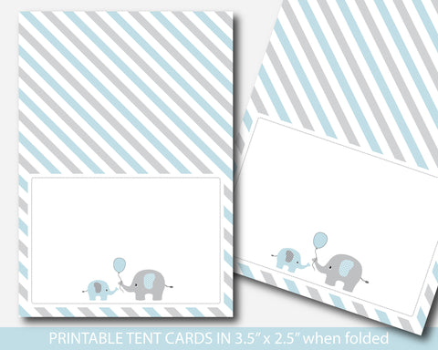 Blue elephant baby shower food labels, Elephant buffet cards, Blue and grey food tent labels, BE1-10