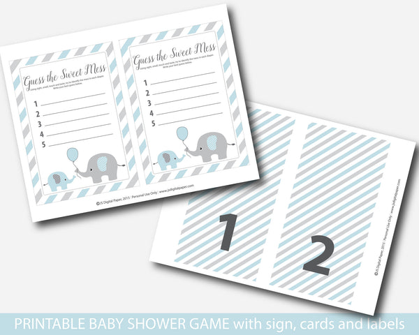 Elephant guess the sweet mess baby shower game, Elephant dirty diapers baby game card & sign, BE1-12