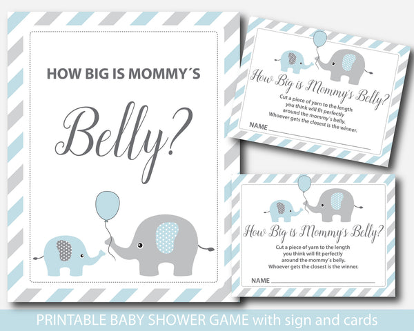 Blue how big is mommy´s belly game with cards and table sign, Elephant baby shower belly guessing game, BE1-13