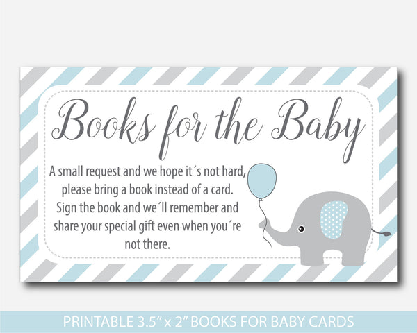 Blue elephant bring a book instead of a card insert, Elephant baby shower books for the baby book request, BE1-14