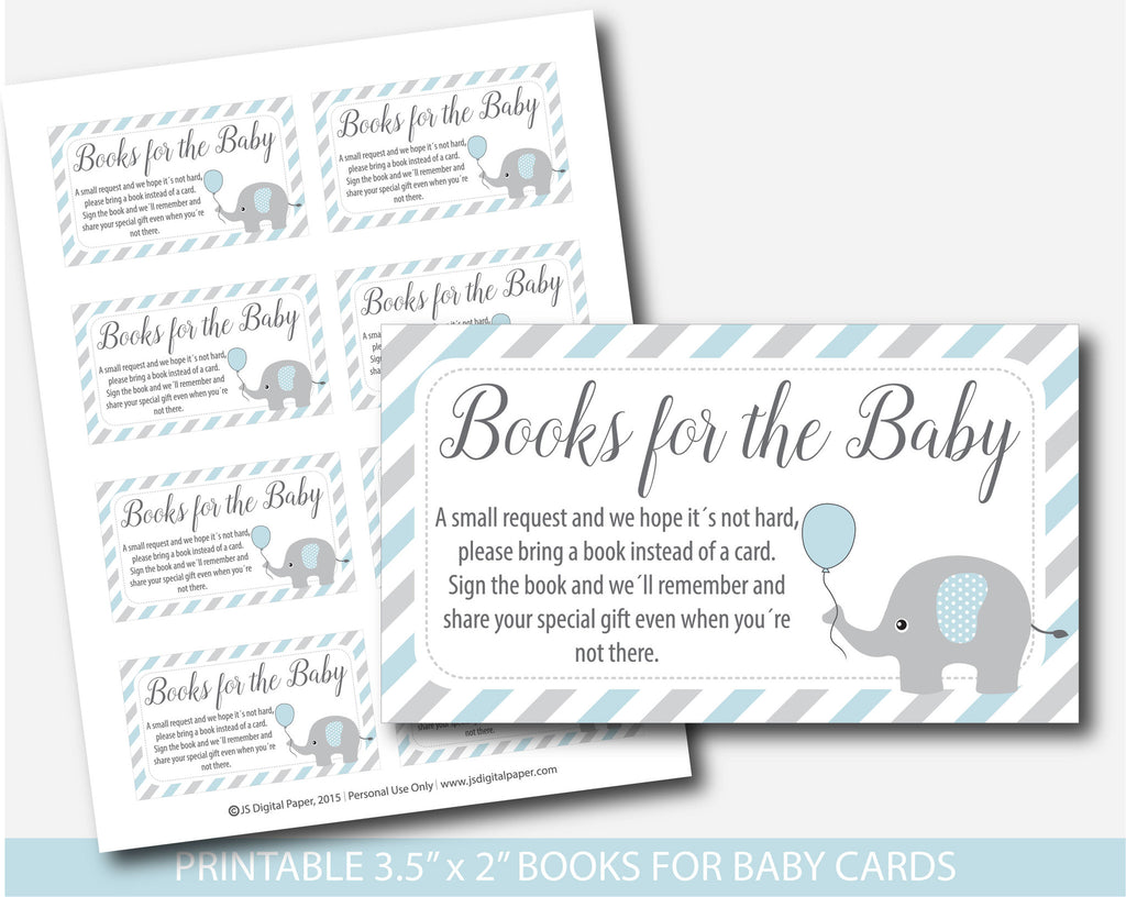 ... Blue Elephant Bring A Book Instead Of A Card Insert, Elephant Baby  Shower Books For