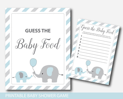 Blue elephant baby food game, Elephant guess the baby food game, Elephant baby food guessing game, BE1-15