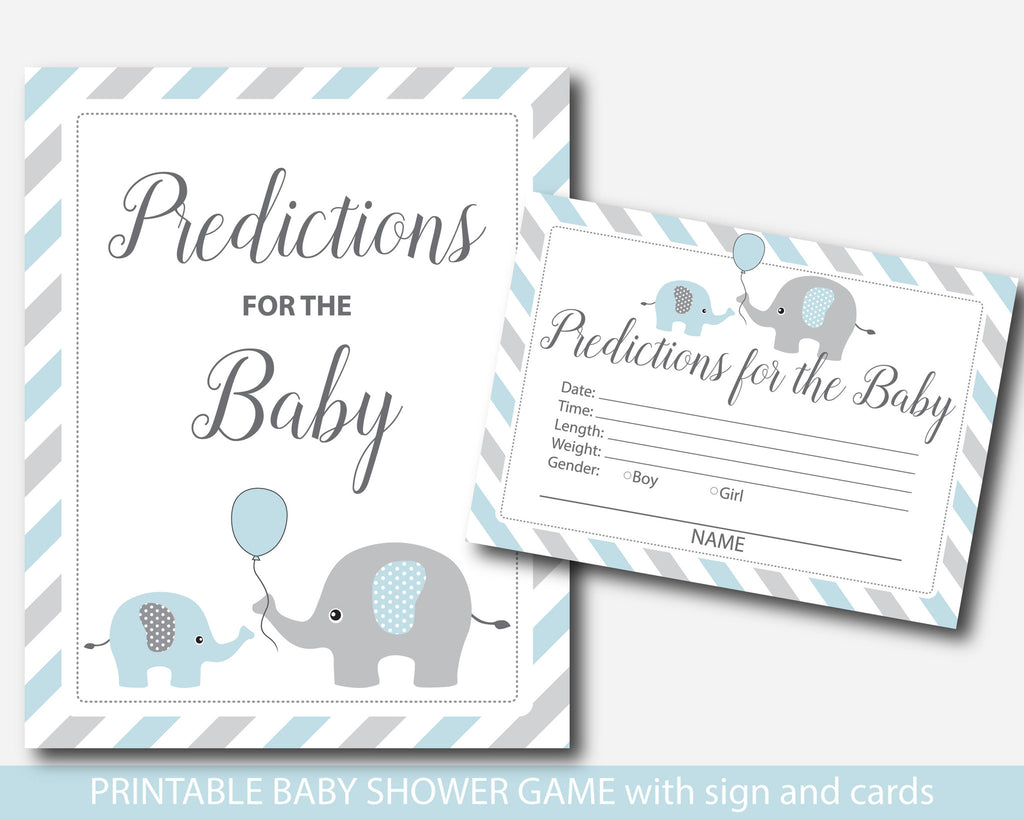 Blue elephant predictions for the baby card and sign, Baby shower elephant predictions in blue and grey, BE1-17