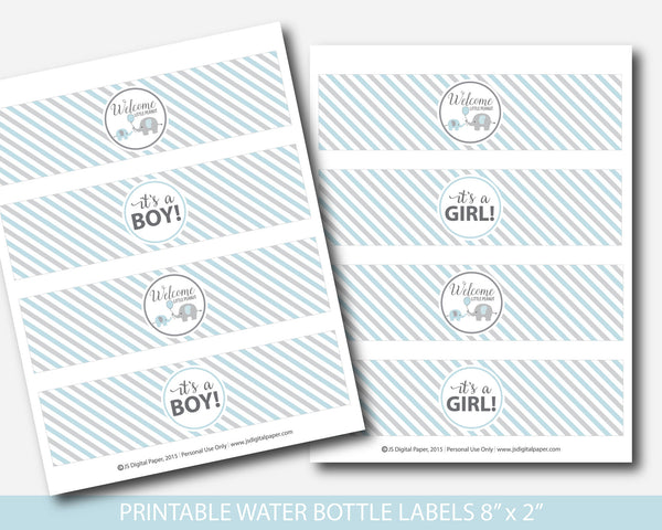 Blue and grey elephant water bottle labels, Baby shower water bottle drink labels, Little peanut water bottle wraps, BE1-18