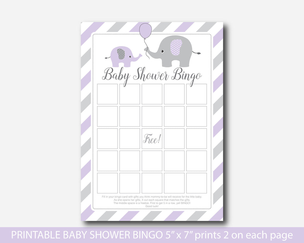 Purple Elephant Baby Shower Bingo Cards, Purple Baby Shower Bingo Game Cards,  BE2
