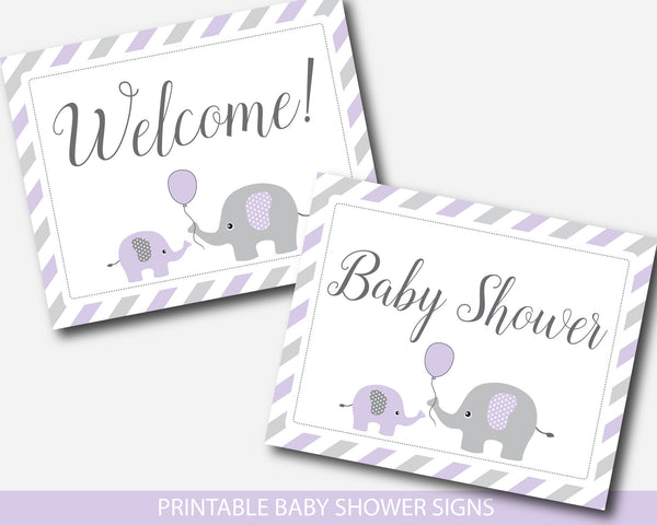 Purple elephant baby shower table signs bundle, Purple baby shower decoration signs, BE2-07