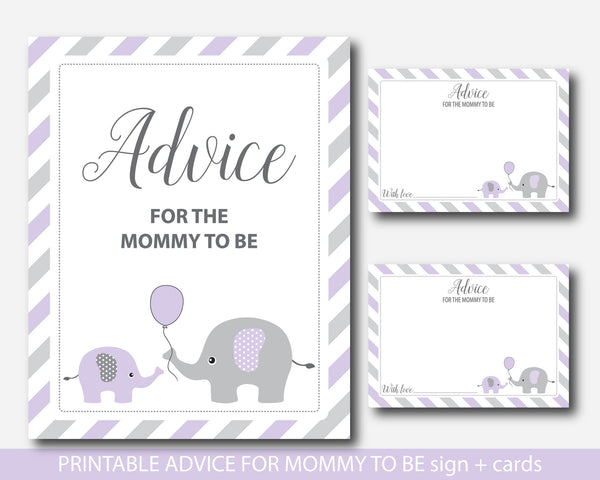 Purple elephant advice for the mommy to be card and sign, Elephant baby shower well wishes for mom, Baby advice game, BE2-09