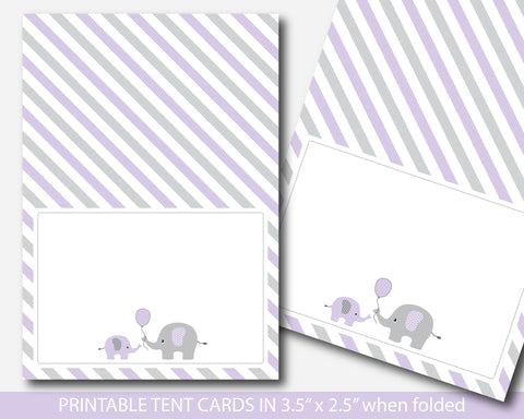 Purple elephant baby shower tent buffet cards, BE2-10