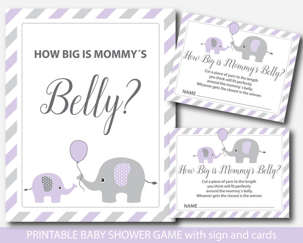 Purple elephant baby shower belly game, How big is mommy´s belly game with cards and table sign, Belly guessing game, BE2-13