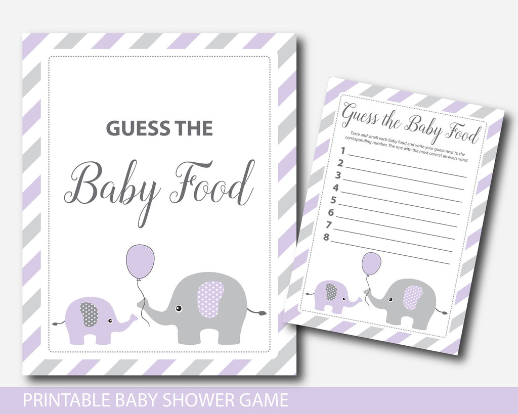 Purple elephant guess the baby food game, Baby food guessing game, Elephant baby food game, BE2-15