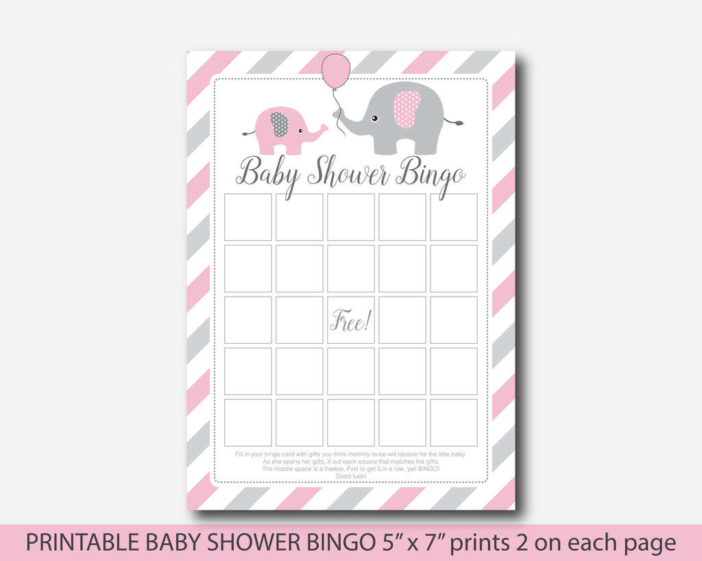 pink elephant baby shower bingo game cards pink baby bingo cards