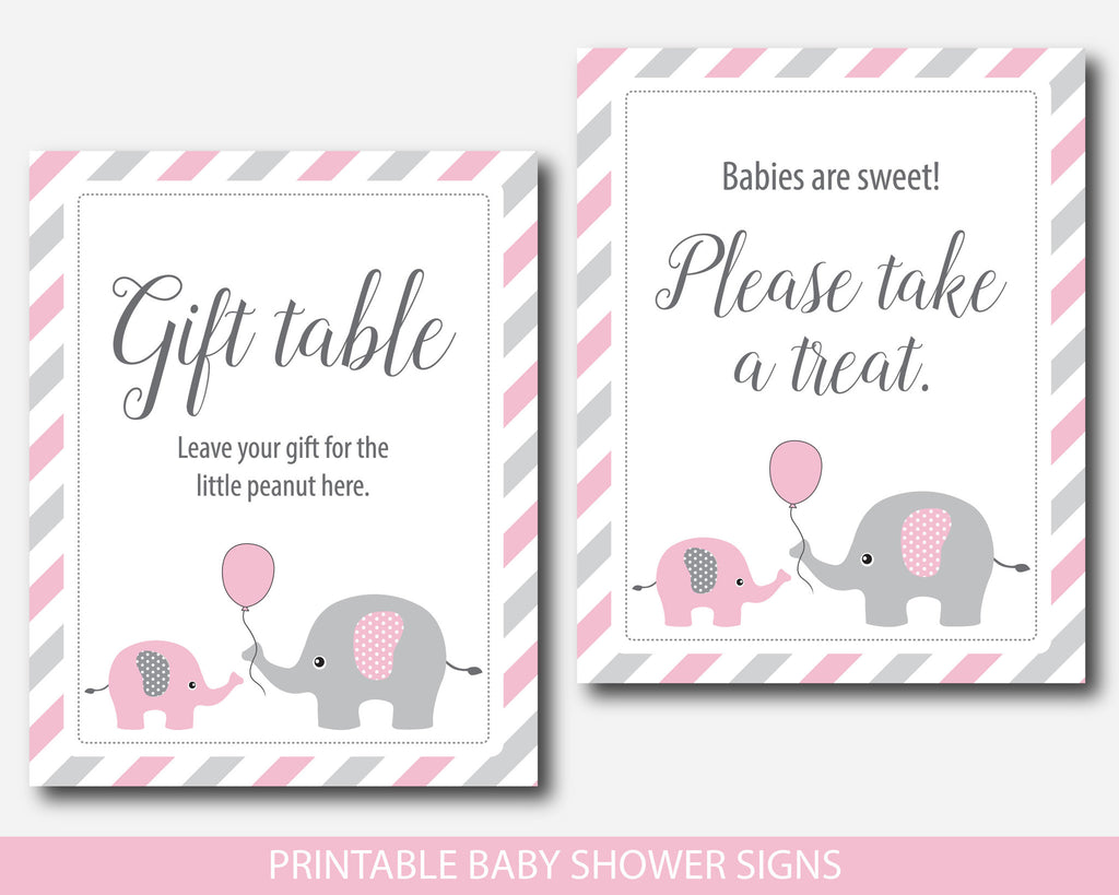 Pink Elephant Baby Shower Table Signs Bundle Gift Table Take A