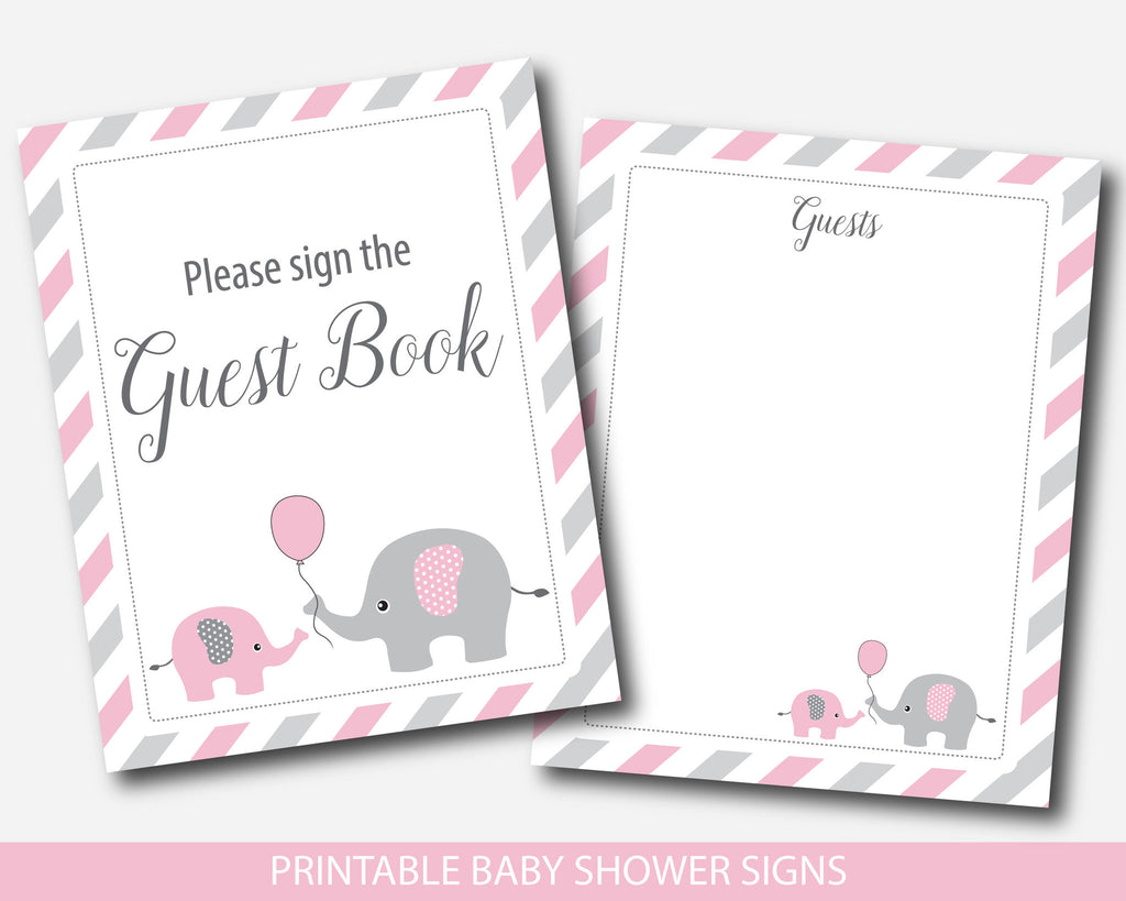 ... Pink Elephant Baby Shower Table Signs Bundle, Gift Table, Take A Treat,  Sign