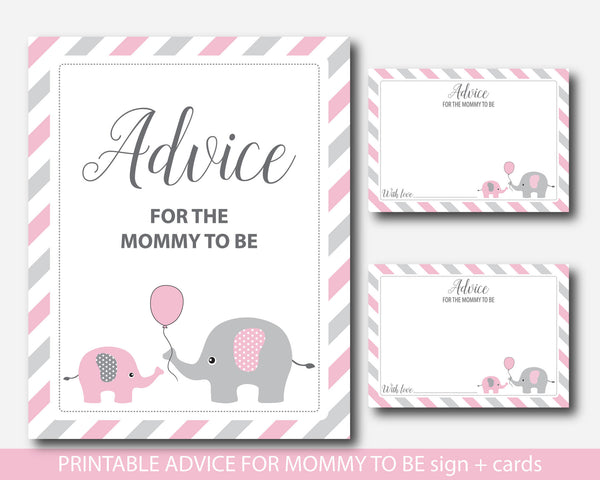 Pink elephant advice for the mommy to be cards with sign, Elephant advice for the new mom to be, Pink baby advice game, BE3-09