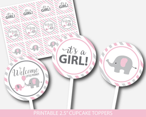 Pink elephant cupcake toppers, Printable baby shower topper, Little peanut cupcake topper, BE3-11