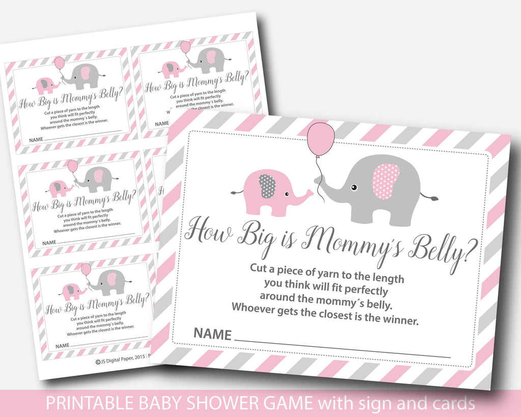 Pink Elephant How Big Is Mommys Belly Game Pink Baby Shower Belly