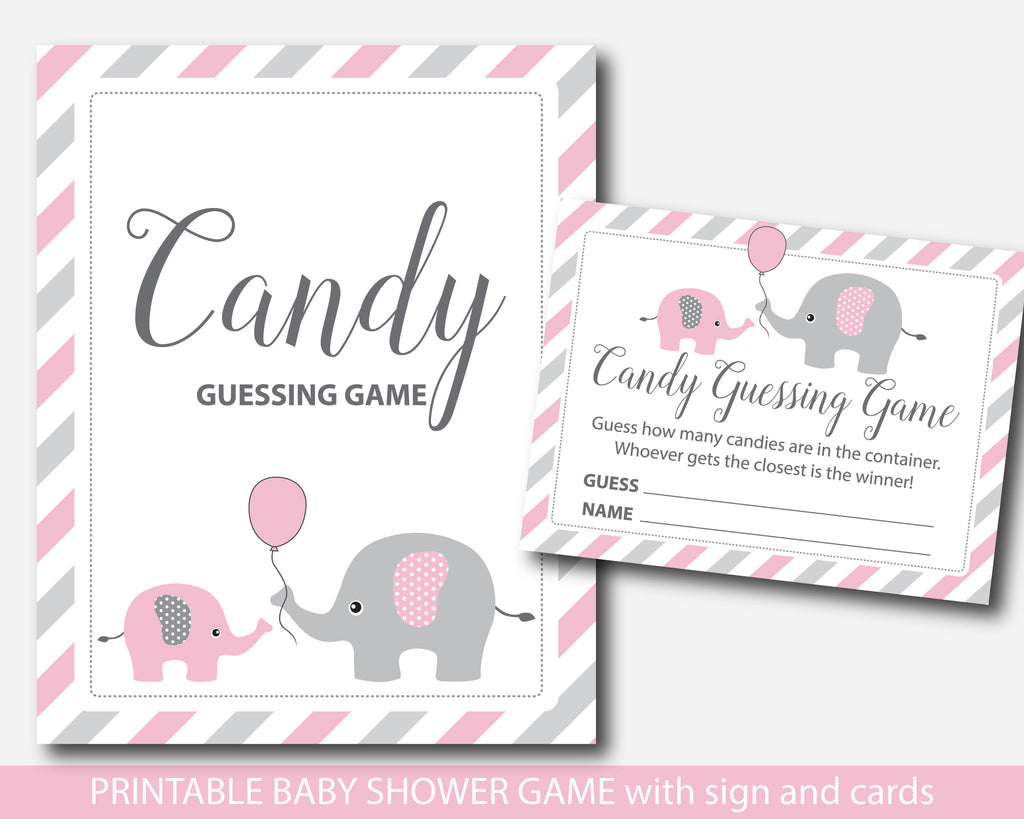 Pink Elephant Baby Shower Candy Guessing Game, Peanut Mu0026Ms Guessing Game,  Jelly Bean Game