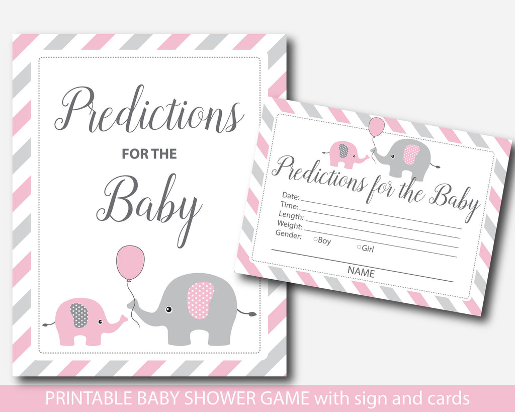 Pink elephant predictions for the baby card and sign, Pink baby prediction game, BE3-17